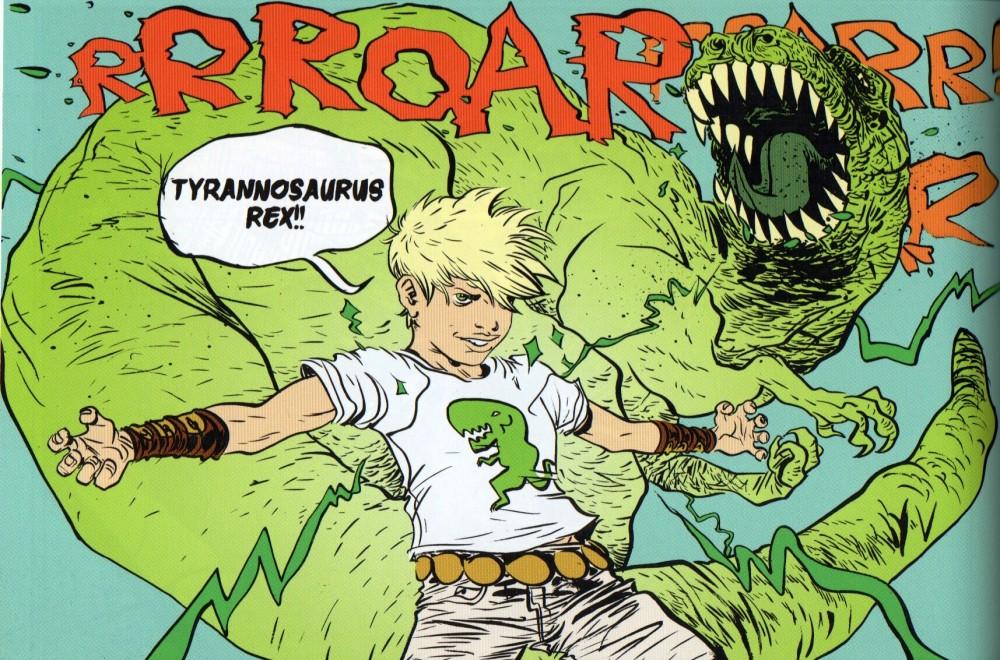 battling boy T Rex